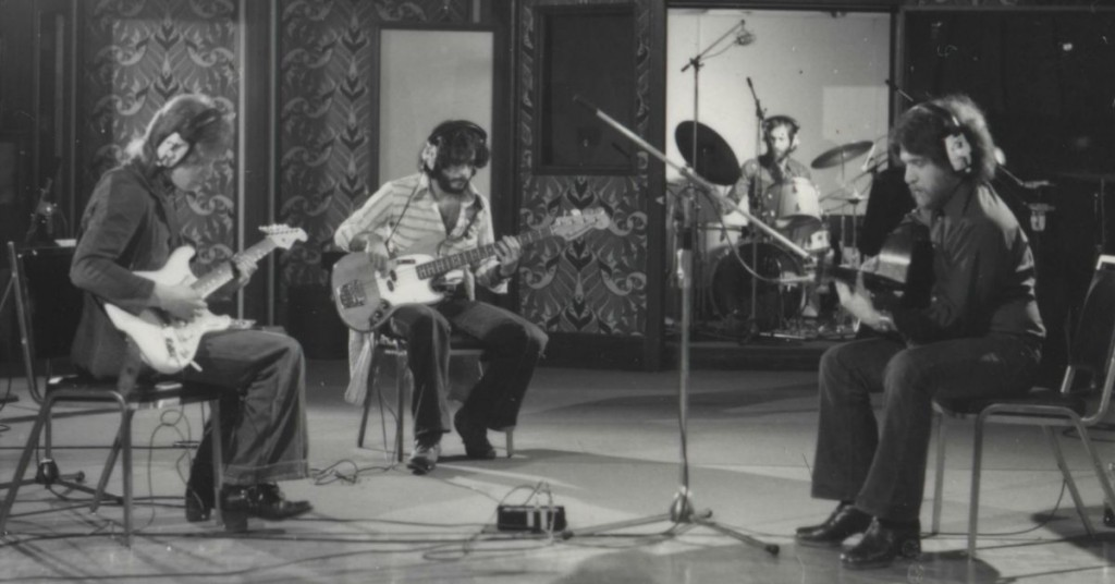 Photo of Luc Cousineau and his band in the recording studio back in the 1970's